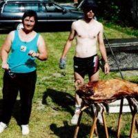 Cochon grillé des 10 ans du club en 1994 - les patrons